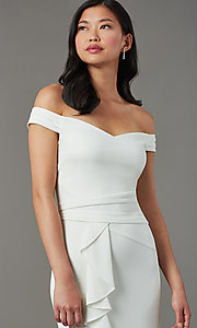 Image of high-low short ivory graduation dress with ruffles. Style: EM-HIN-3405-120 Detail Image 1