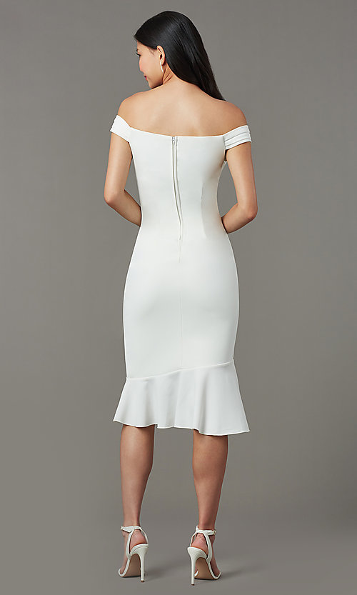 Image of high-low short ivory graduation dress with ruffles. Style: EM-HIN-3405-120 Back Image