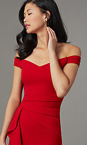 Image of off-shoulder red wedding-guest dress with ruffles. Style: EM-HIN-3405-600 Detail Image 1