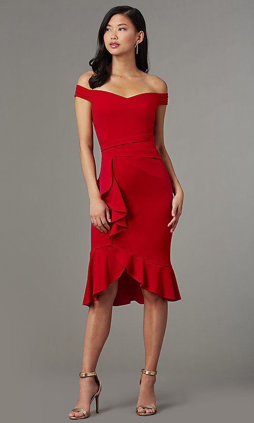 Image of off-shoulder red wedding-guest dress with ruffles. Style: EM-HIN-3405-600 Front Image