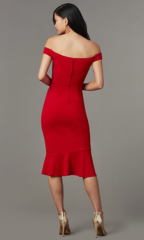 Image of off-shoulder red wedding-guest dress with ruffles. Style: EM-HIN-3405-600 Back Image