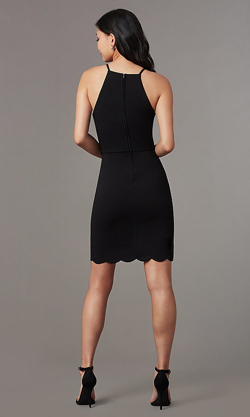 018b7ba51939 Image of short tight little black dress with tulip hem. Style: EM-HJM