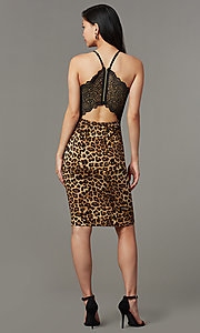 Image of lace-back leopard-print short party dress. Style: EM-HIY-4061-023 Back Image