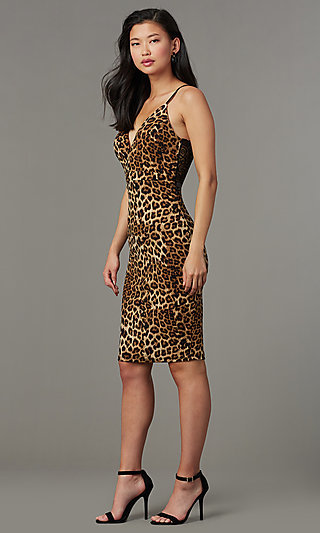 Leopard Print Lace Back Short Party Dress