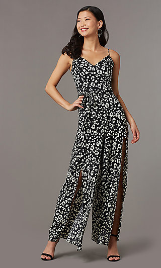 Floral Print V-Neck Party Jumpsuit