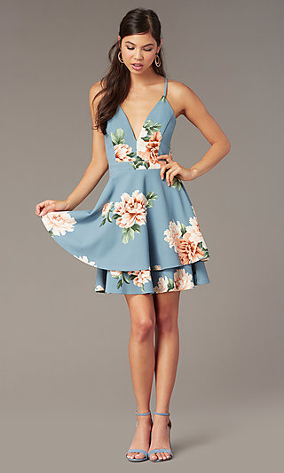 Floral-Print Tiered Short Wedding-Guest Dress