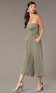 Image of cropped-leg strapless party jumpsuit in moss green. Style: EM-CUA-1189-319 Front Image