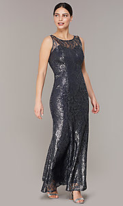 Image of long navy metallic-lace mother-of-the-bride dress. Style: IT-7112160 Front Image