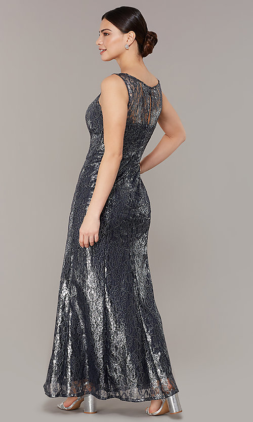 Image of long navy metallic-lace mother-of-the-bride dress. Style: IT-7112160 Back Image