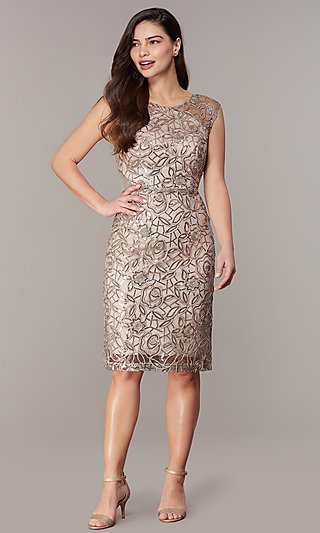 Knee-Length Wedding Guest Sequin Embroidered Dress