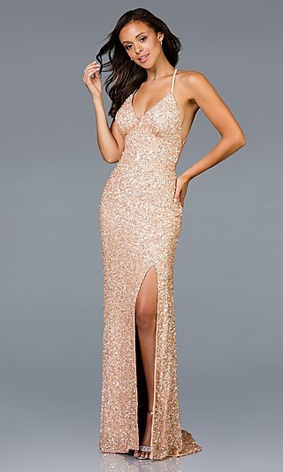 Scala Sequin Designer Prom Dress with a Train