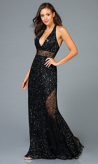Long Sequin Prom Dress with Illusion Details