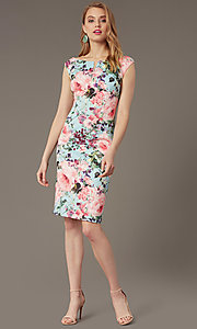 Image of short floral-print sheath wedding-guest dress. Style: IT-9130172 Front Image