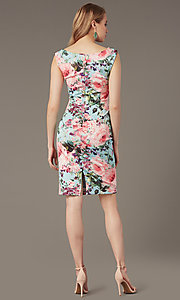 Image of short floral-print sheath wedding-guest dress. Style: IT-9130172 Back Image