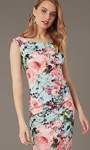 Image of short floral-print sheath wedding-guest dress. Style: IT-9130172 Detail Image 1