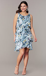 Image of floral-print tiered wedding-guest shift dress. Style: IT-9171303 Detail Image 2