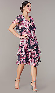 Image of tiered floral-print short wedding-guest dress. Style: IT-9171397 Detail Image 4