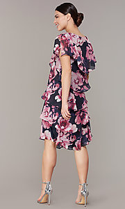Image of tiered floral-print short wedding-guest dress. Style: IT-9171397 Detail Image 5