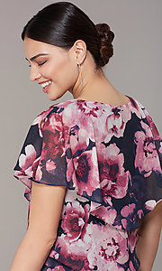 Image of tiered floral-print short wedding-guest dress. Style: IT-9171397 Detail Image 1