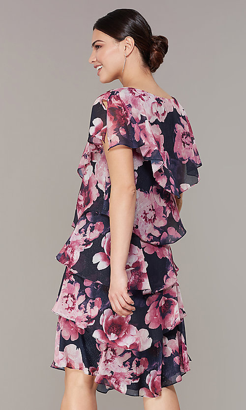 Image of tiered floral-print short wedding-guest dress. Style: IT-9171397 Back Image
