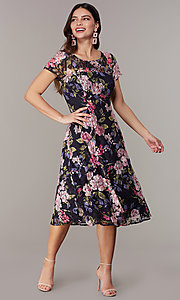 Image of short-sleeve floral-print navy wedding-guest dress. Style: IT-9112167 Front Image
