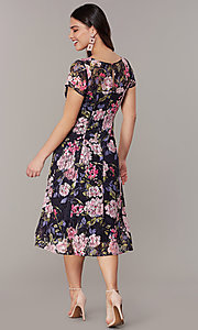 Image of short-sleeve floral-print navy wedding-guest dress. Style: IT-9112167 Back Image