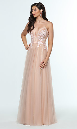 Long V-Neck Designer Prom Dress with Ruching