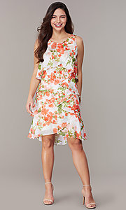 Image of floral-print tiered shift wedding-guest dress. Style: IT-9171364 Front Image