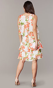 Image of floral-print tiered shift wedding-guest dress. Style: IT-9171364 Back Image