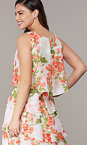 Image of floral-print tiered shift wedding-guest dress. Style: IT-9171364 Detail Image 2