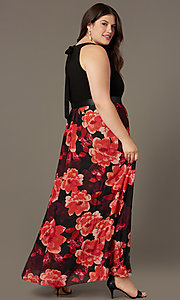 Image of long plus-size wedding-guest dress with print. Style: IT-9477192 Back Image