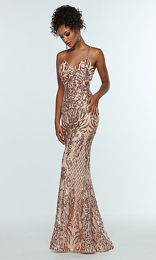 Long Sequin Prom Dress with Criss-Cross Straps