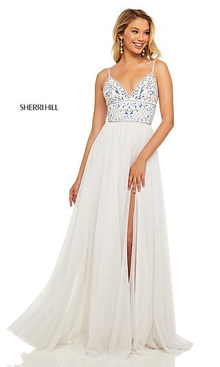 Long V-Neck Prom Dress with a Beaded Bodice