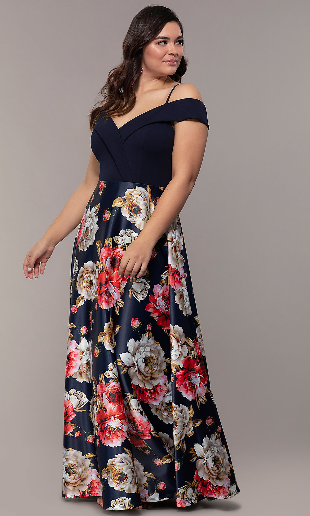 Simply Floral-Print Plus-Size Prom Dress - PromGirl