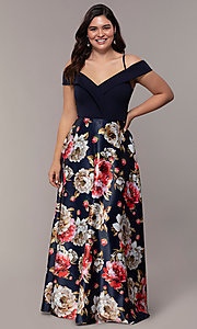 Image of long floral-print plus-size prom dress by Simply. Style: MCR-SD-2563 Front Image