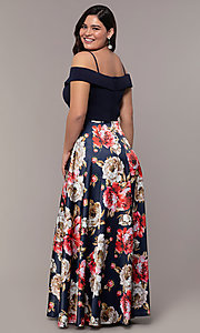 Image of long floral-print plus-size prom dress by Simply. Style: MCR-SD-2563 Back Image