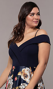 Image of long floral-print plus-size prom dress by Simply. Style: MCR-SD-2563 Detail Image 1