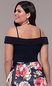 Image of long floral-print plus-size prom dress by Simply. Style: MCR-SD-2563 Detail Image 2