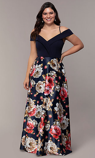 Long Print Skirt Plus Off Shoulder Prom Dress by Simply