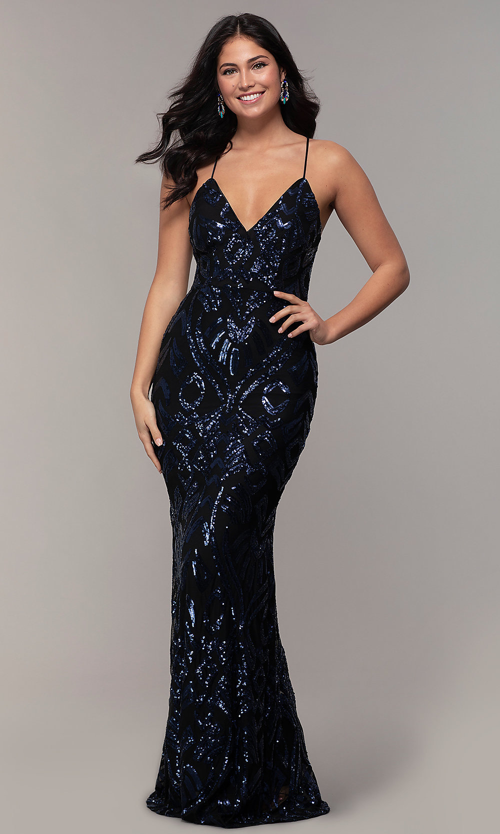 Sequin V Neck Long Navy Prom Dress By Simply