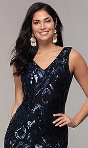 Image of long sequin-mesh v-back navy prom dress by Simply. Style: MCR-SD-2016 Detail Image 1
