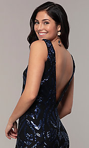 Image of long sequin-mesh v-back navy prom dress by Simply. Style: MCR-SD-2016 Detail Image 2