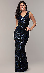 Image of long sequin-mesh v-back navy prom dress by Simply. Style: MCR-SD-2016 Detail Image 3