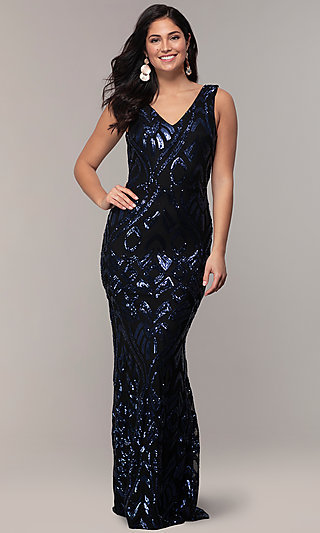 Long Sequin-Mesh V-Back Navy Prom Dress by Simply