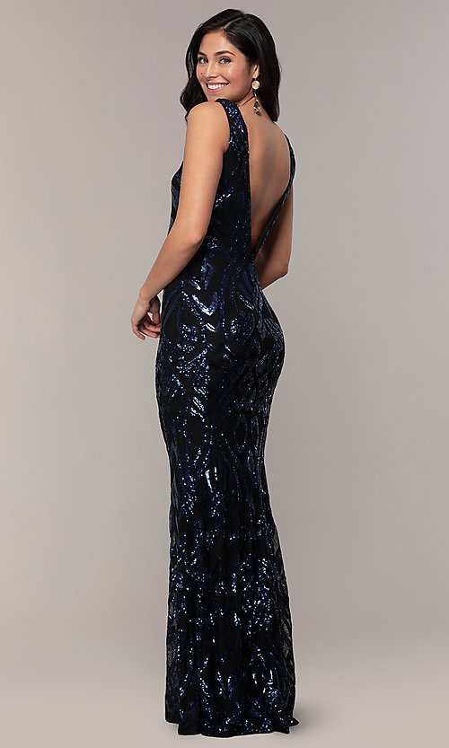 Image of long sequin-mesh v-back navy prom dress by Simply. Style: MCR-SD-2016 Back Image