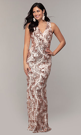 Long V-Neck Rose Gold Sequin Prom Dress by Simply
