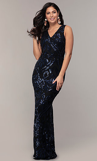 Long V-Neck Sleeveless Sequin Prom Dress by Simply