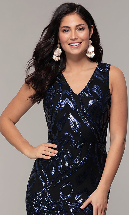 Image of long v-neck sleeveless sequin prom dress by Simply. Style: MCR-SD-2018 Detail Image 1