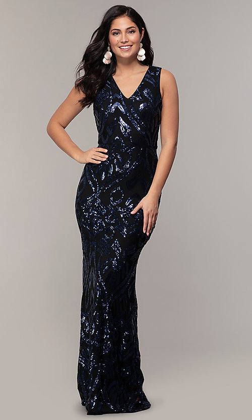 Image of long v-neck sleeveless sequin prom dress by Simply. Style: MCR-SD-2018 Detail Image 3