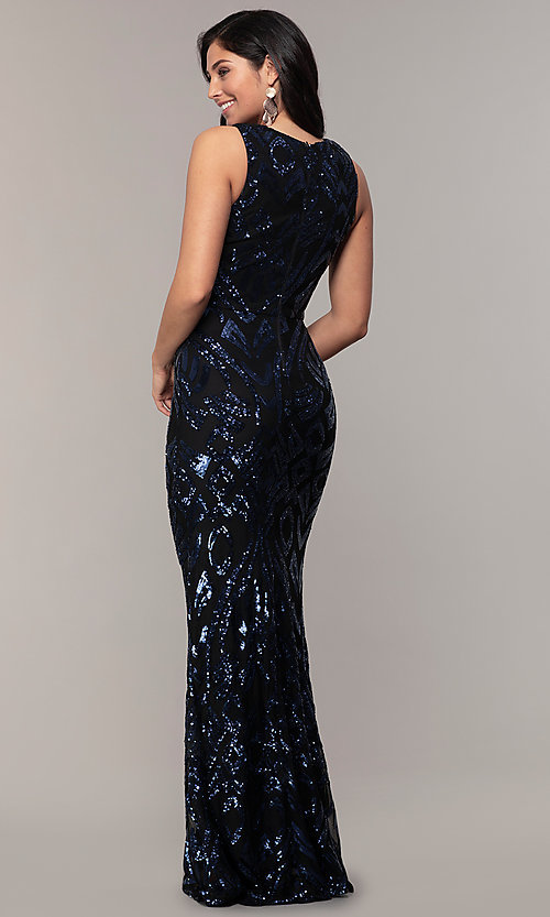 Image of long v-neck sleeveless sequin prom dress by Simply. Style: MCR-SD-2018 Back Image